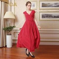 VOA шелковый красный сексуальные Для женщин Винтажные наряды элегантный однотонный короткий рукав специальная конструкция v образным вырез