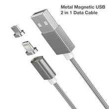 2 In 1 Magnetic Nylon Braided Lightning Quick Charge Cable For Iphone 5S Huawei Honor 6X 3C Play 5X Fast Charging