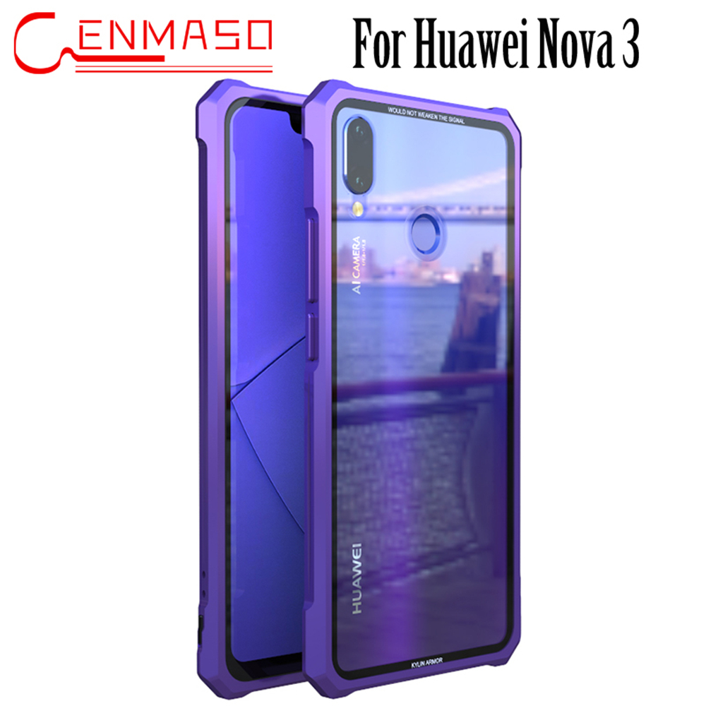 US $13 99 30% OFF Huawei Nova 3 Metal Frame HD Transparent Tempered Glass  Phone Back Case Huawei Nova 3 Luxury Case Nova3 Protective Cover-in Fitted