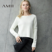 Amii Minimalist Casual Women Sweater 2018 Solid  Texture  Female Pullovers Sweaters