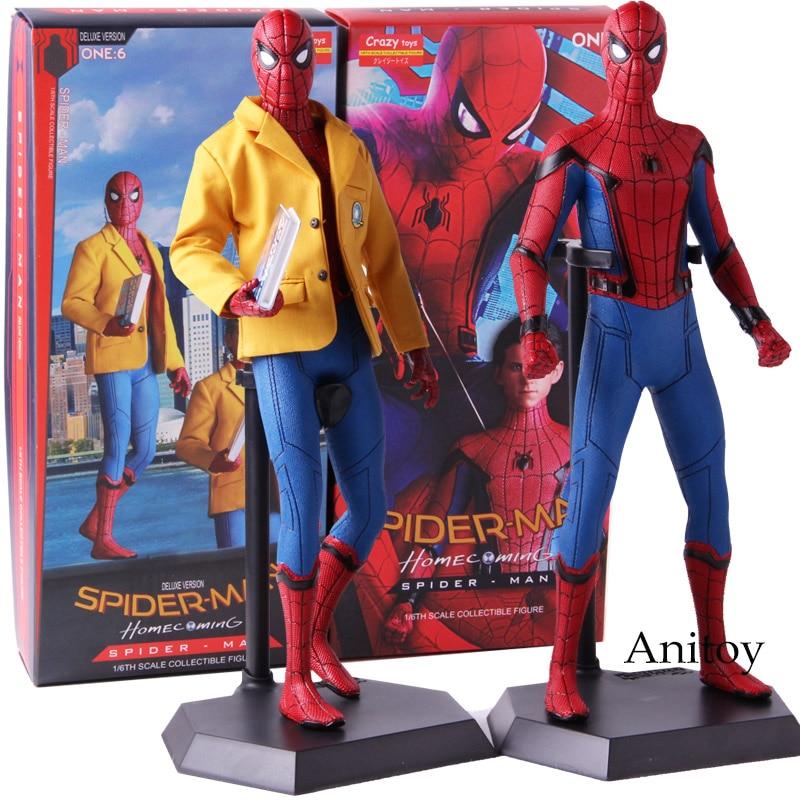 Figura de ação brinquedos loucos spiderman regresso a casa aranha homem de luxo versão 1/6th escala collectible figura modelo brinquedoFiguras de ação   -