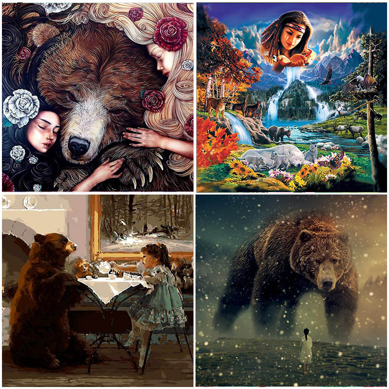 5D Diamond Painting Bear Rhinestones Sale Full Square Drill Home Decoration Mosaic Cartoon Animal Cross Stitch Embroidery Craft in Diamond Painting Cross Stitch from Home Garden