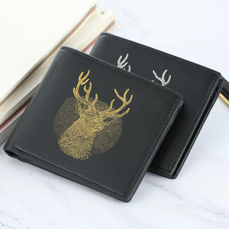 Luxury Boys Wallet Leather Vintage Slim Deer Wallet Men Purse  Clutch Card Holder Men Wallets Money Bag Pocket Cartera W002