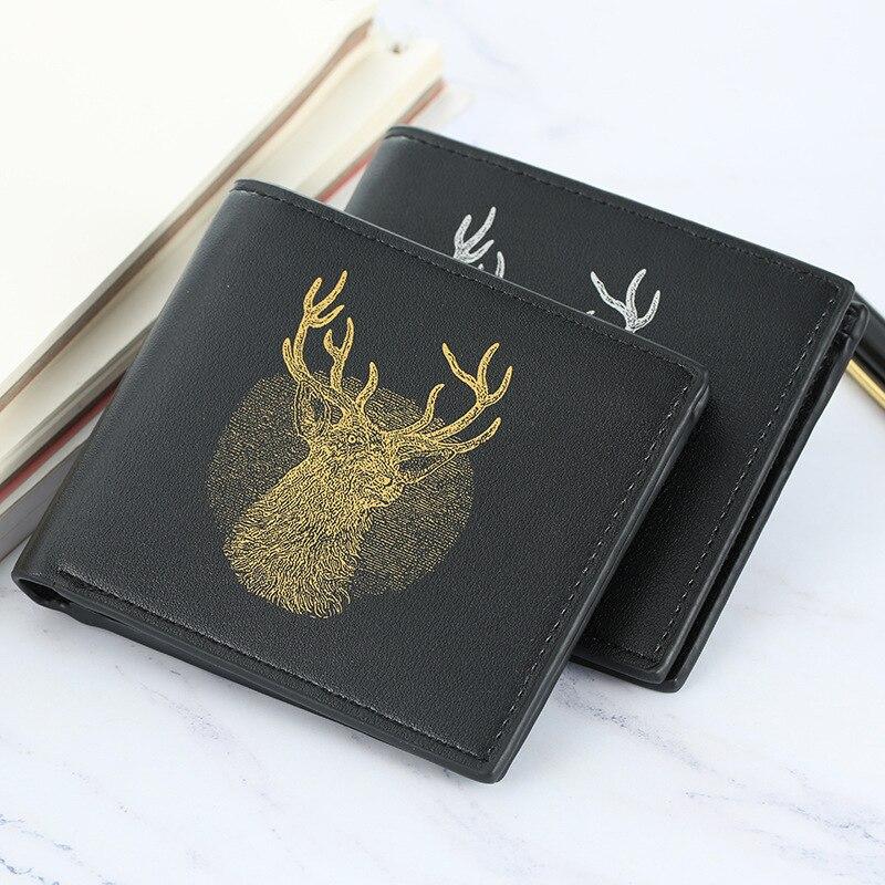 Luxury Deer Wallet Men Purse Slim Leather Vintage Wallet Boy Clutch Card Holder Small Men Wallets Money Bag Pocket Carteira W002