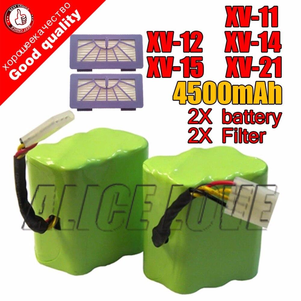 NOUVEAU 2 * batterie + 2 * Filtre 4500mAh 7.2V pour Neato XV-21 XV-11 XV-15 XV-14 XV-24 XV-12 pro robot aspirateur accessoire