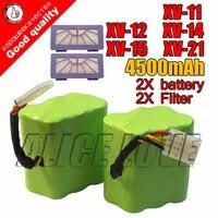 Novo 2 * bateria + 2 * filtro 4500 mah 7.2 v para neato XV-21 XV-11 XV-15 XV-14 XV-24 XV-12 pro robô aspirador de pó robótico acessório