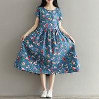 Women Dress Mori Girl Short Sleeve Floral Print Dress Blue Color High Waist O Neck Cotton Linen Summer Dress Plus Size QH0051