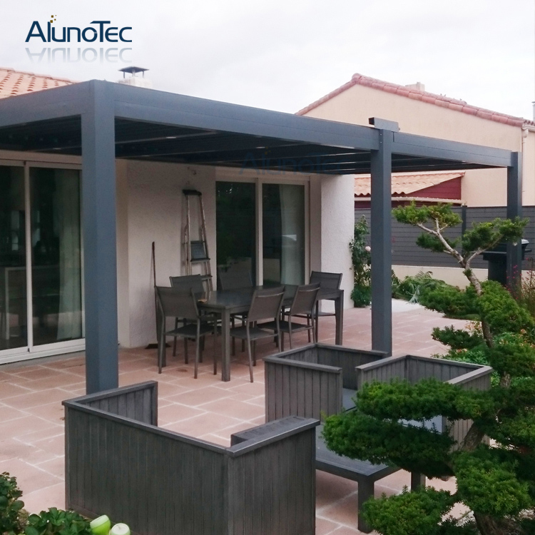 outdoor motorized aluminum pergola louver roof aluminium gazebo 3m x 3m x 3m in gazebos from. Black Bedroom Furniture Sets. Home Design Ideas