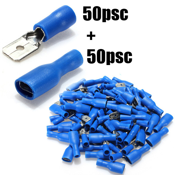 Blue 50x Male+50x Female Spade Connectors Insulated Wire Crimp Terminals kit