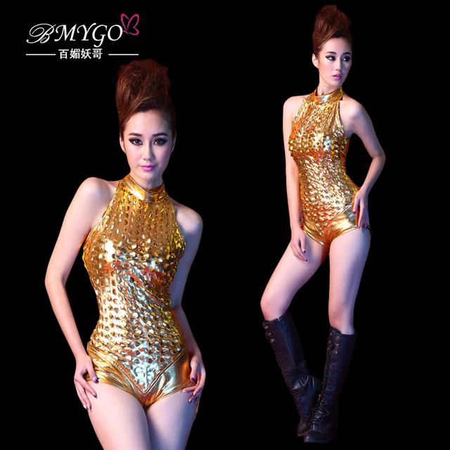 Cantor recorte plus size elástico traje feminino traje do ouro levar dançarino roupas de dança bar stage party usa boate