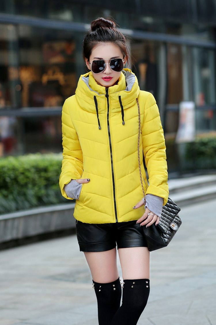 Autumn and winter slim coat women 2017 spring down cotton padded jacket female wadded jacket pink ladies plus size green jackets