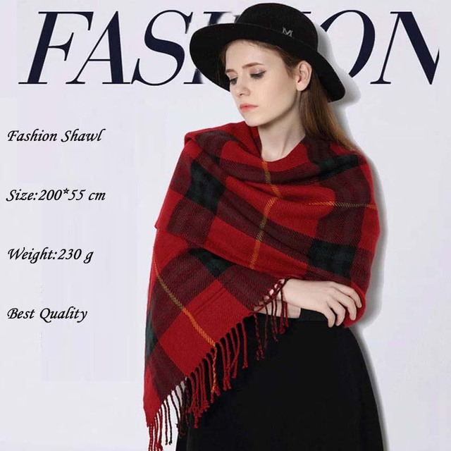 2016 Novo Inverno Xadrez Cachecol Mulheres Xaile Quente Mais Grosso Marca de Lã de moda Xale Urdidura Cobertor Cachecol Lindo Longa Borla xale