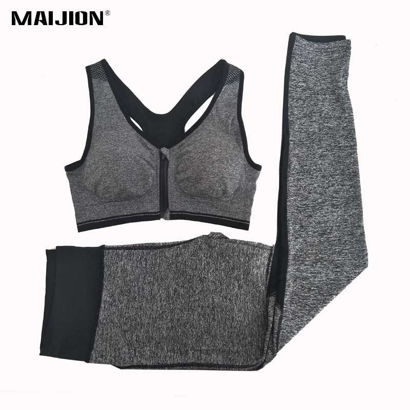 Running Maijion Women Elastic Gym Running Sets Front Zipper Yoga Bra & Mesh Sport Pants Suits,breathable Quick Dry Athletic Fitness Sets Running Sets