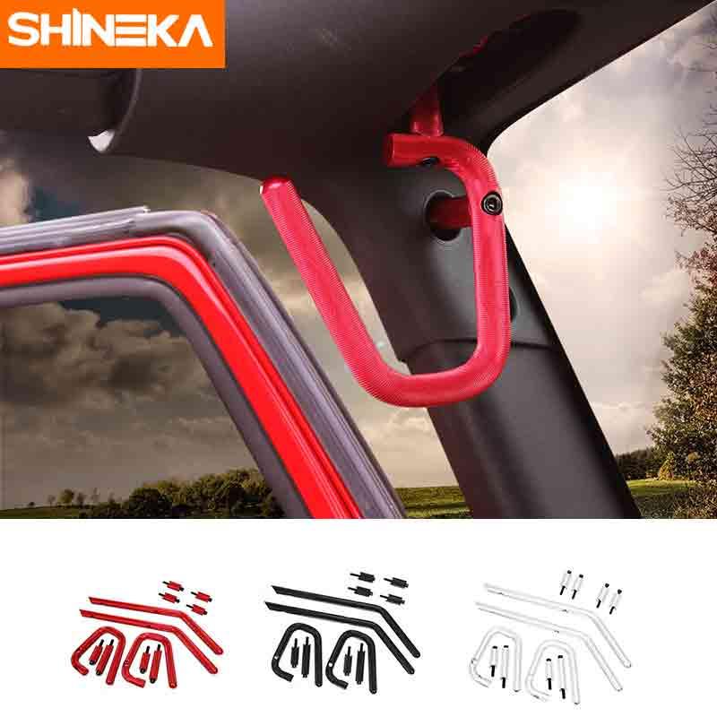 SHINEKA En Alliage D'aluminium Avant Arrière Bar Toit Poignée Kit pour Jeep wrangler JK 2007 + Voiture Accessoires Intérieurs
