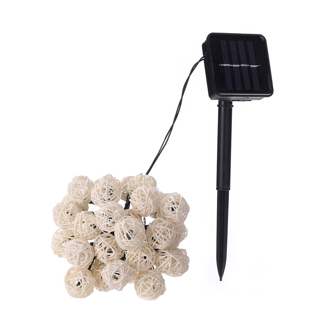 30 LED Solar Power Thailand Rattan Ball Shape LED Light Strip Christmas Holiday Festival Party Decorative Lamp LED Ribbon