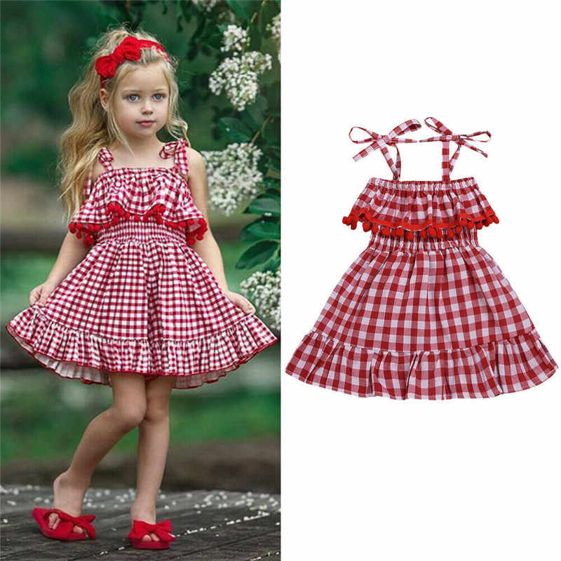 Toddler Baby Girls Off Shoulder Plaid Print Dress Ruffles Bow Dresses Clothes 2019 Spring Baptism princess birthday party