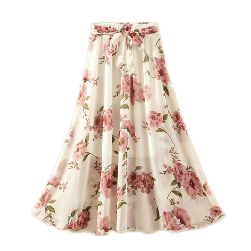 102813d9b Faldas largas de verano para mujer elegantes informales de gasa de talla  grande falda de cintura alta con estampado Floral de Streetwear Maxi  señoras ...