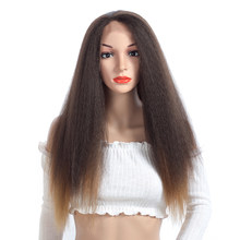 Aigemei Kinky Straight Synthetic Hair Glueless Front Lace Wigs Heat Resistant Fiber 24 inch(China)