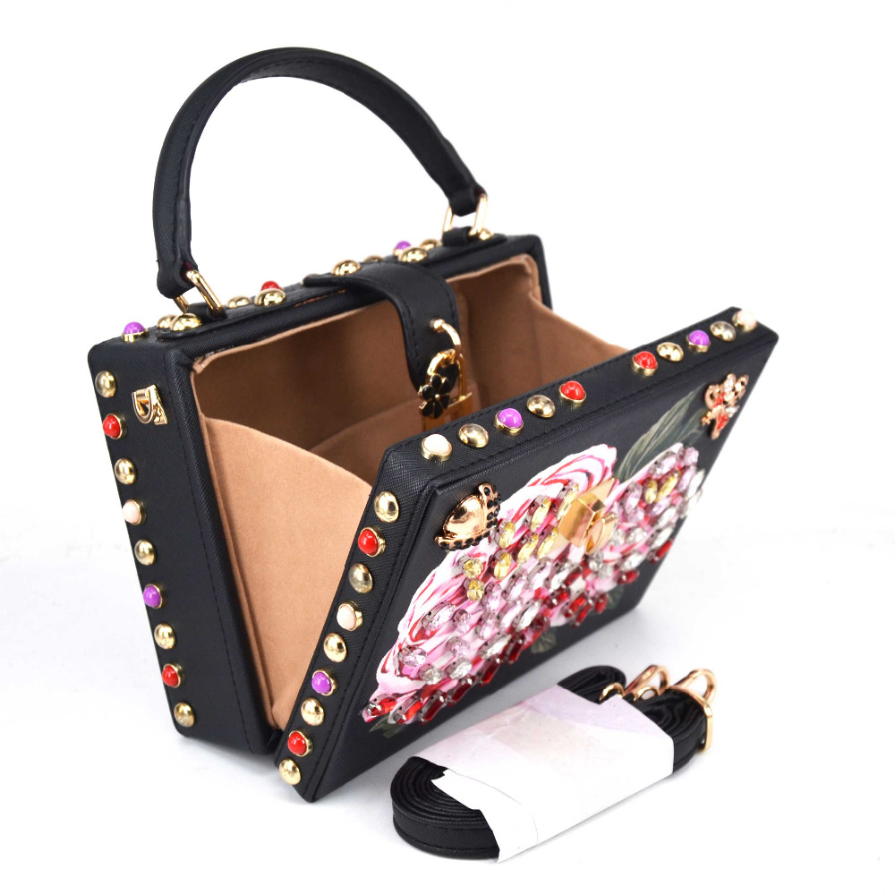Newest Fashion Black Mini Tote Bags Pink Flower Crystal Party Purse