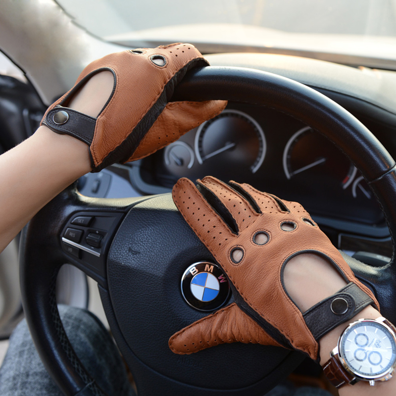 Fashion Autumn Deerskin Leisure Men Genuine Leather Gloves Wrist Breathable Unlined 100% Deerskin Driving Gloves Free Shipping