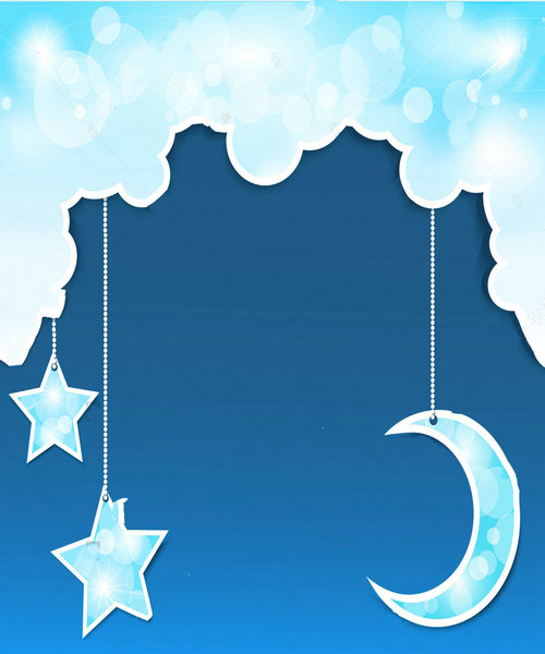baby cloud blue new moon stars background polyester or Vinyl cloth High quality Computer print wall photo backdrop