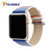 TEAROKE Colorful Striped Printed Leather Watchband For Apple Watch 38mm 42mm Ocean Blue Women Men Watch