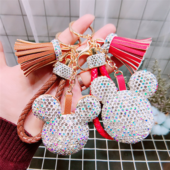 5 Creative Love Keychains Couple Bag Keyring Tassel Pendant Doll Leather Keychain For Women Fashion Jewelry Crystal Heart Keychains