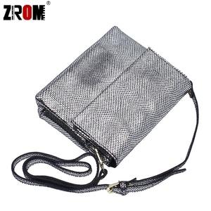 Image 2 - ZROM marque de luxe en cuir véritable brillant Serpentine or argent Crossbody réel doux en cuir de vache sacs à main dame Messenger sacs