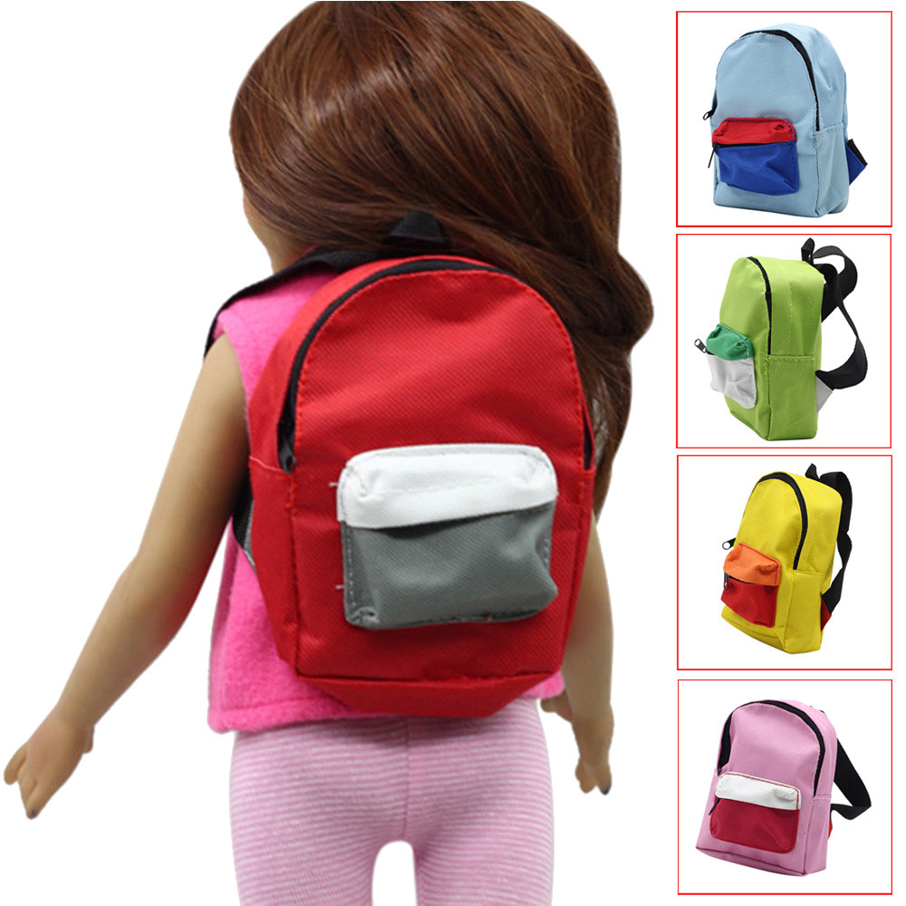 Cute Mini Double Straps Backpack Schoolbag For 18 inch Our Generation American Girl Doll glitter doll shoes star dress shoe for 18 inch our generation american girl doll