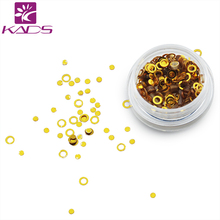 KADS 1PC/BOX Gold Ring And Round Nail Glitter Powder Dust 3D Manicure Decorations DIY Nail Art Tools For Nail Design
