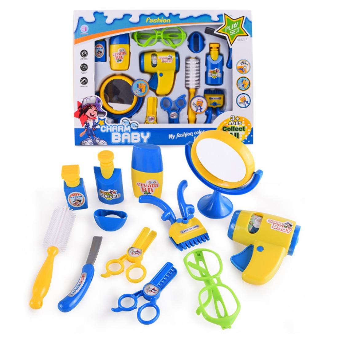 12/16 Pcs Pretend & Play Emulational Spielzeug Kit Elektrische Haar Trockner Barber Tools Mit Sound Und Licht Für Kinder Weihnachten Geschenk Der Preis Bleibt Stabil