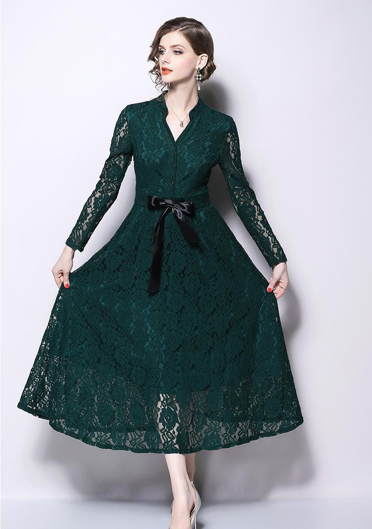 Solide évidé dentelle robe 2018 automne hiver longue robe femmes v-cou à manches longues élégantes robes Vintage Vestidos Mujer - 3