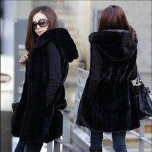 M-4Xl плюс размер женское осеннее пальто из искусственного меха Полосатое женское тонкое черное без рукавов меховой жилет Длинный жилет с капюшоном M1421