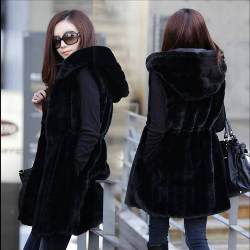 M-4Xl Plus Size Autumn Faux Fur Coat Women Striped Slim Black Sleeveless Rabbit Fur Vest Winter Long Hooded Waistcoat M1421