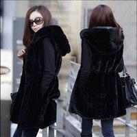 M 4Xl Plus Size Autumn Faux Fur Coat Women Striped Slim Black Sleeveless Rabbit Fur Vest Winter Long Hooded Waistcoat M1421