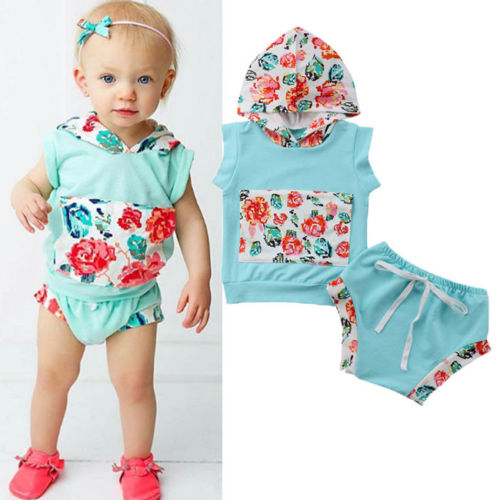 eb40ca8fcbfd5 US $4.35 34% OFF 2018 New Kids Girl Summer Floral Clothes Baby Girl Tops  Hoodie Sleeveless Pocket T shirt+Shorts Pants Children Outfit Set-in  Clothing ...