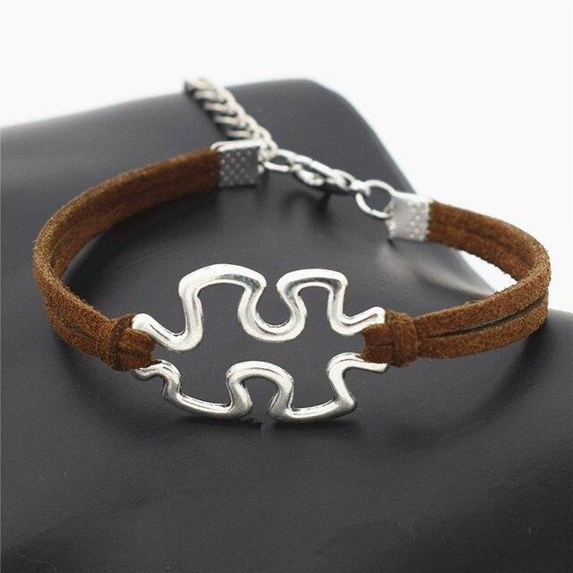 Moda antyczne autyzm świadomość Charms Puzzle Jigsaw Piece bransoletki dla kobiet mężczyzn autyzm Symbol biżuteria
