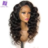 Луффи 150% плотность свободная волна Синтетические волосы на кружеве человеческих волос парики для Для женщин натуральный черный Pre сорвал б