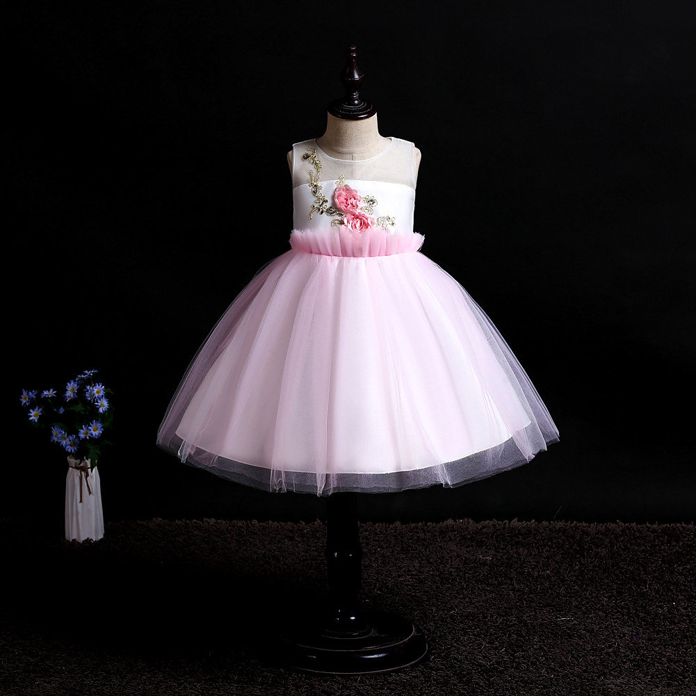NEW baby wedding dress tutu girl clothes sleeveless Birthday party Stage performance princess