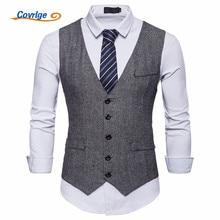 Covrlge Suit Vest Men Formal Dress Colete Masculino Herringbone Gilet Fitness Sleeveless Jacket Wedding Waistcoat MWX022