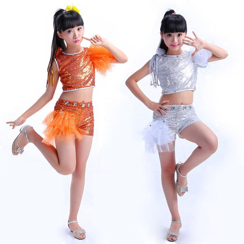 e406e08b0d57 Disfraces de baile de Jazz de lentejuelas plateadas naranja para niñas Hip  Hop niños danza moderna ...