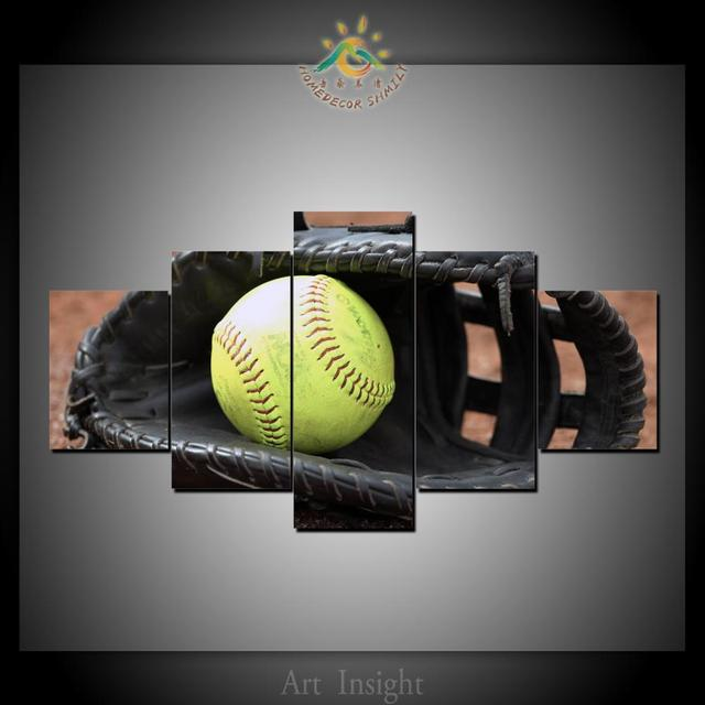 US $17 0 |5 Piece Softball Image Canvas Art Wall Pictures Canvas Prints  Artwork Cuadros Decoracion Wall Pictures-in Painting & Calligraphy from  Home &