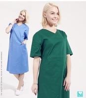 Hospital Beauty Salon Clinic Doctor Women Long Shirt Short Sleeve 100 Cotton Surgical Gown Nurse Isolation