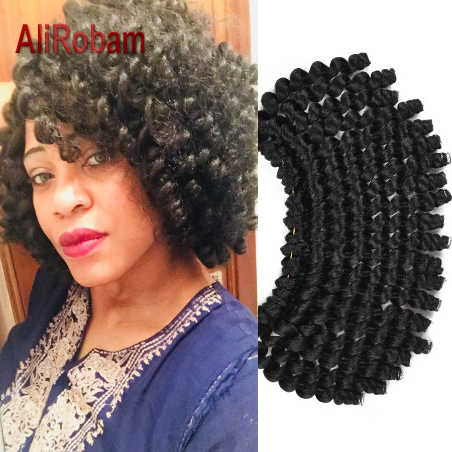 "Crochet Braids 8"" Short Jamaican Bounce Curly Black Wand ...