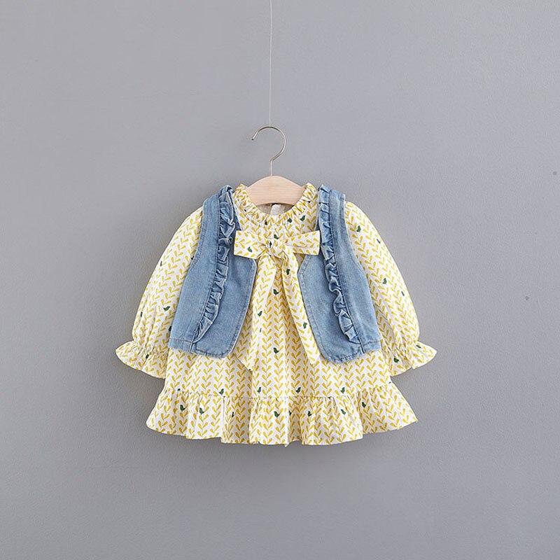 2018 New Rushed Vestido Infantil Baby Girl Dress Girls Cowboy Vests Long Sleeve Print Dress Spring Bowknot Children's Princess