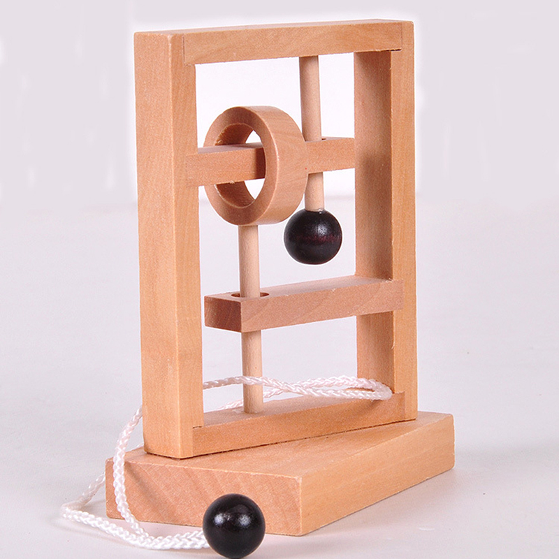 Desk Novelty Wooden Rope Loop Puzzle Mind Brain Game Space Thinking Threading Three-Dimensional Educational Toys For Kids