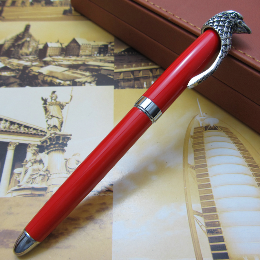 fuliwen Unique owl design heavy silver red fountain pen office writing gift pen free shipping