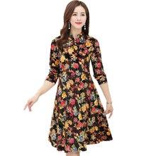 Oriental Women Flower Velvet Dresses Purple Yellow Print Velour Robe Femme Woman Mandarin Collar Dress Long Sleeve Shift Dresses crane print mandarin collar dress