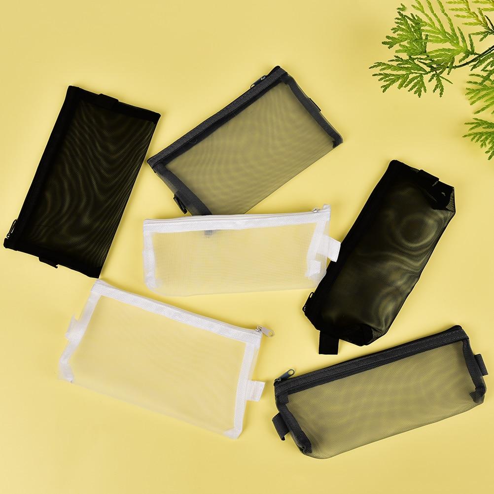 Transparent Clear File Folder Zipper Pencil Pouch Pencil Bag School Supplies Stationary Mesh Pencil Case Office Student Pen Box