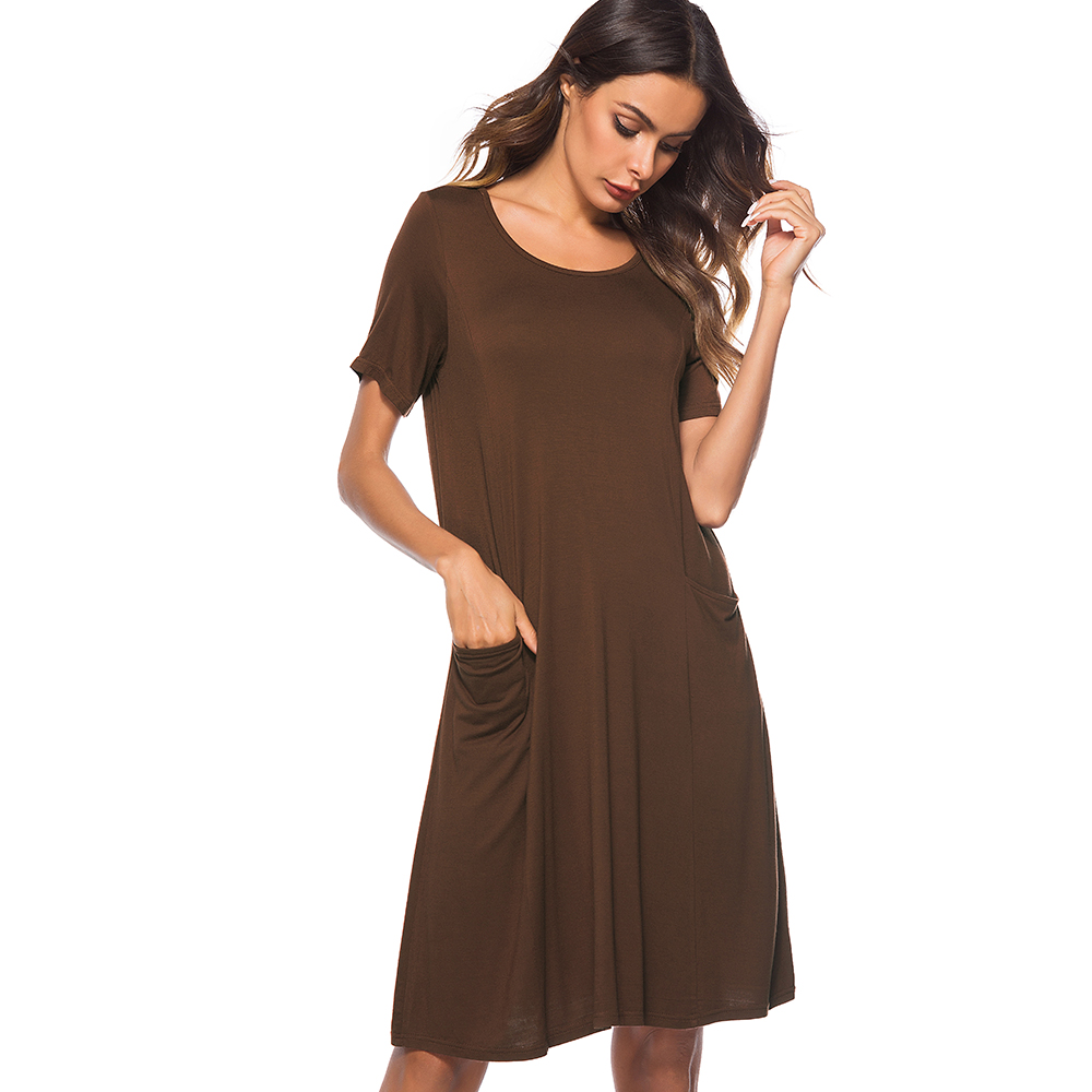 Ameision Women Summer Dress Casual Brief Shift Mini Elegant Round Neck short sleeve Loose Straight Lady Dress vestidos verano in Dresses from Women 39 s Clothing